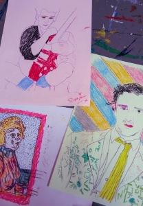 Wax-monoprint-portraits